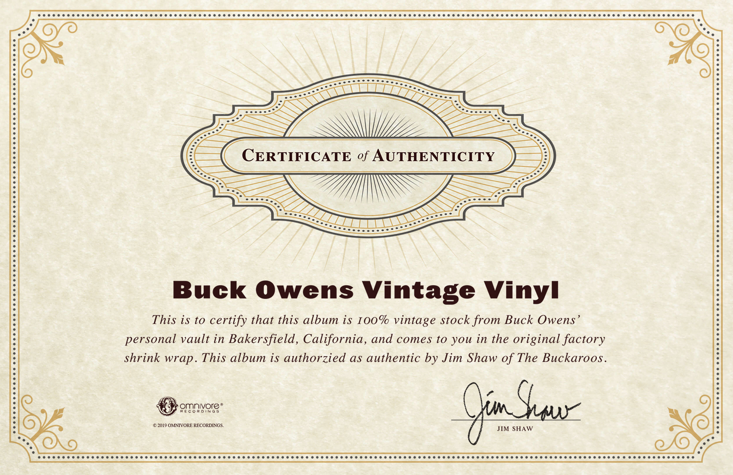 Buck Owens - Certificate of Authenticity