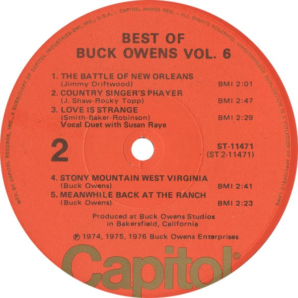 Buck Owens - Best Of Buck Owens Vol 6 Vintage